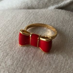 Kate Spade Red Gold Bow Ring Size 6